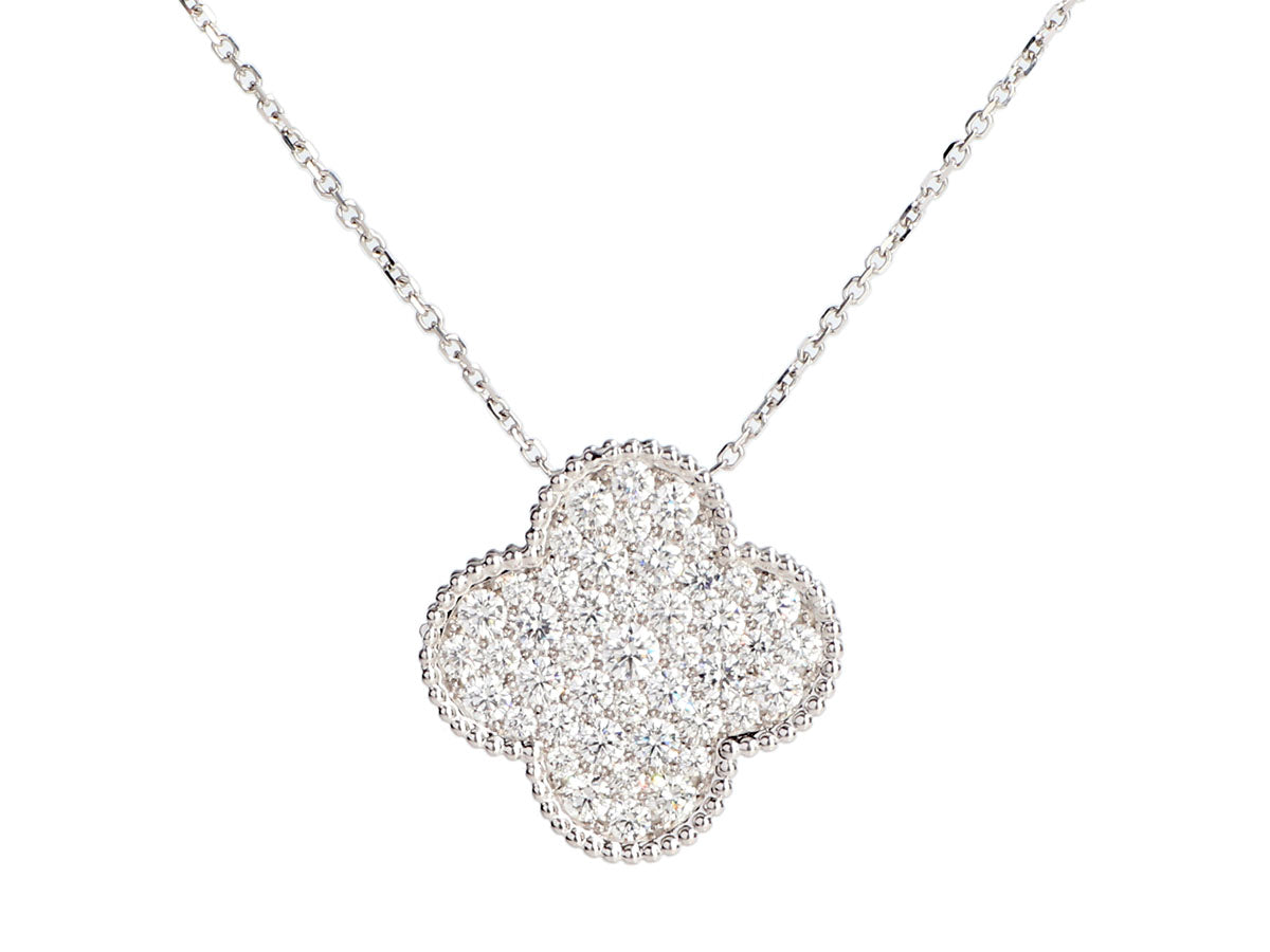 Van Cleef & Arpels 18K White Gold Diamond Magic Alhambra Pendant Necklace