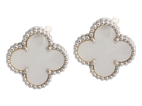 Van Cleef & Arpels 18K White Gold Vintage Alhambra Pierced Earrings