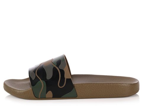 Valentino Unisex Army Green Camouflage Rubber Slides