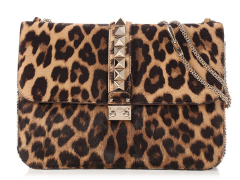 Valentino Large Leopard-Print Calf Hair Rockstud Flap Bag