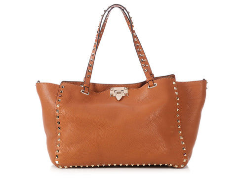 Valentino Medium Cognac Pebbled Rockstud Tote