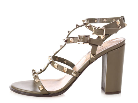 Valentino Army Green Rockstud City Sandals