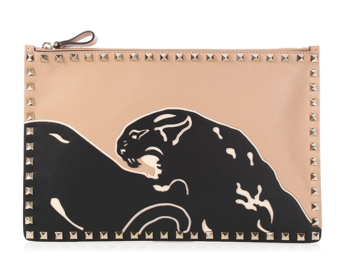 Valentino Rockstud Panther Clutch