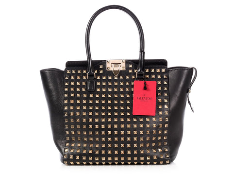 Valentino Medium Black Full Studded Rockstud Tote