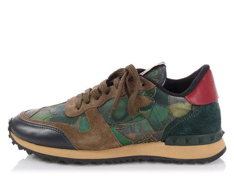 Valentino Green Camo Rockrunner Butterfly Sneakers