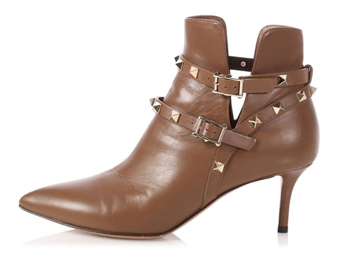 Valentino Brown Rockstud Booties
