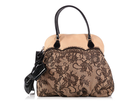 0196ebf2b4a Valentino Straw and Lace Bow Dome Bag