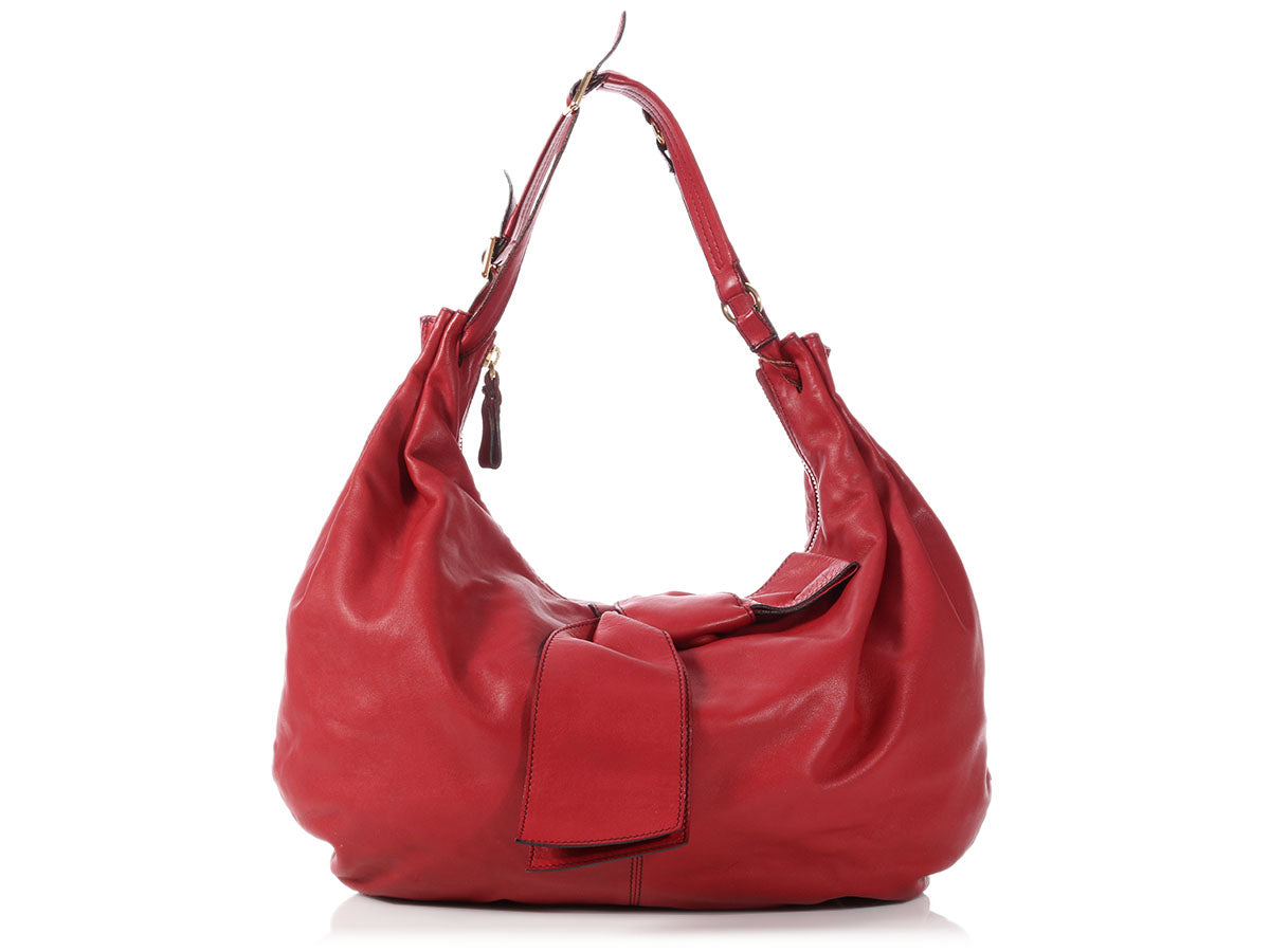 Valentino Red Leather Bow Hobo