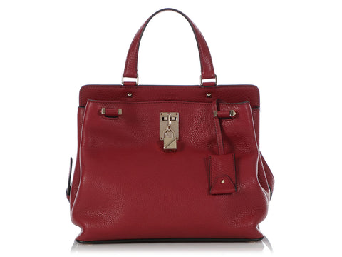 Valentino Medium Burgundy Joylock Handle Bag