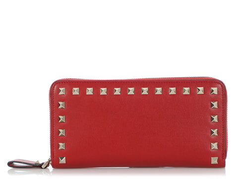 Valentino Red Rockstud Zip Around Continental Wallet