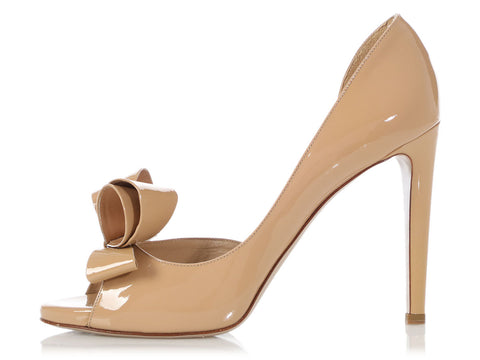 Valentino Beige Patent D'Orsay Pumps