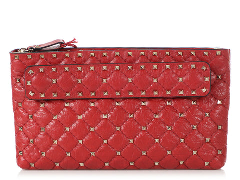 Valentino Red Rockstud Spike Clutch