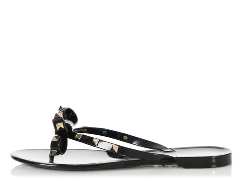 Valentino Black Rockstud Jelly Thong Sandals