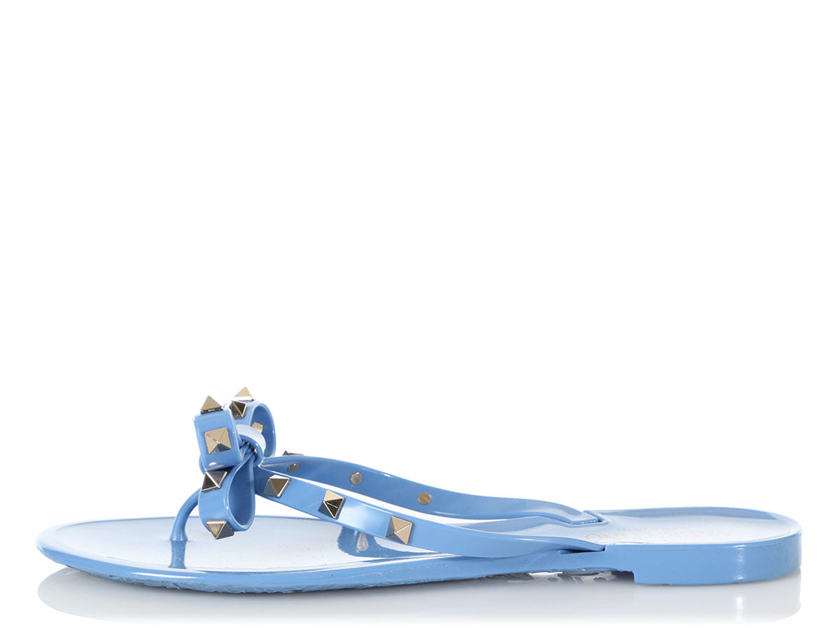Valentino Blue Rockstud Jelly Thong Sandals