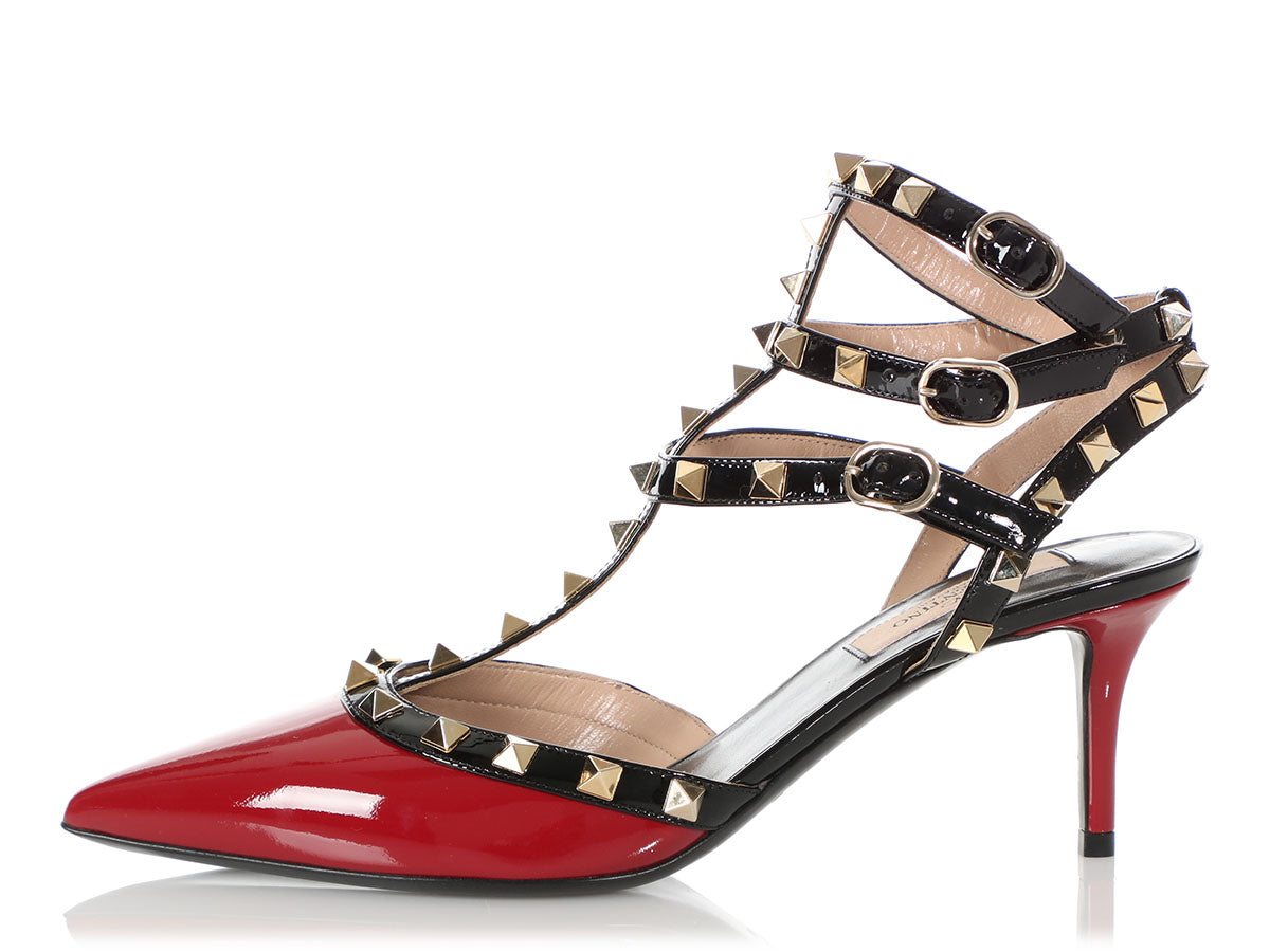 Valentino Black and Red Rockstud Caged Pumps 65mm