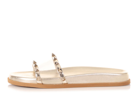 Valentino Gold Rockstud Moonwalk Slide Sandals