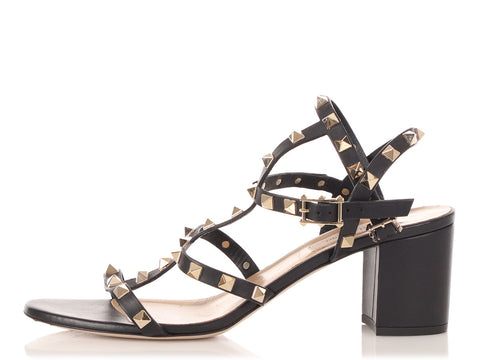 Valentino Black Rockstud City Sandals
