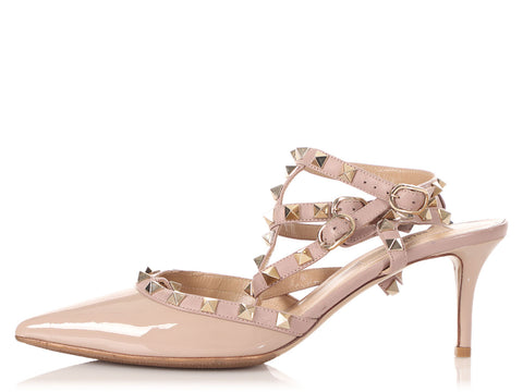 Valentino Taupe Rockstud Caged Pumps 65