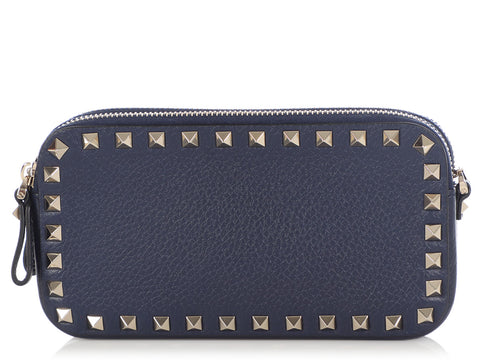 Valentino Blue Rockstud Pouch with Chain