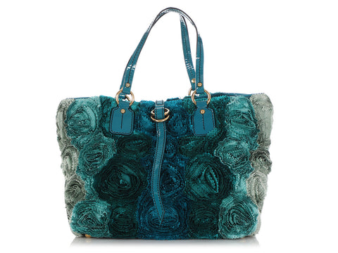 Valentino Turquoise Silk Organza and Patent Rosier Tote