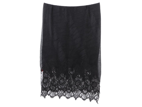 Valentino Black Pleated Cashmere Shawl