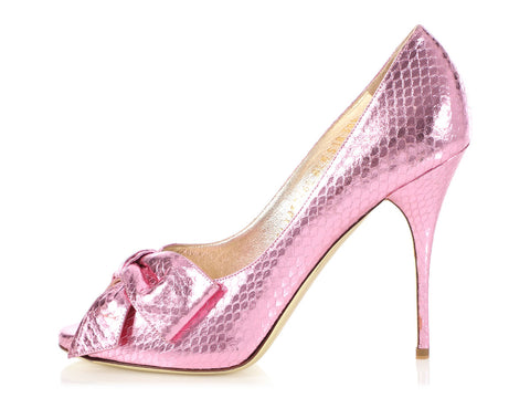 Valentino Metallic Pink Snake Embossed Open Toe Pumps