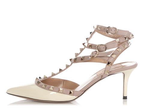 Valentino Cream and Taupe Rockstud Sandals