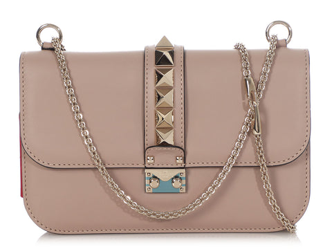 Valentino Medium Taupe Glam Lock Rockstud Flap