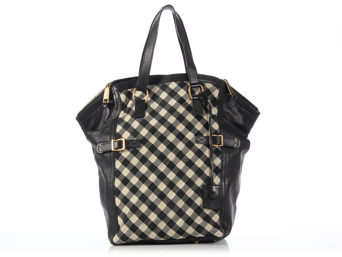 YSL Extra Large Black and Cream Check Downtown