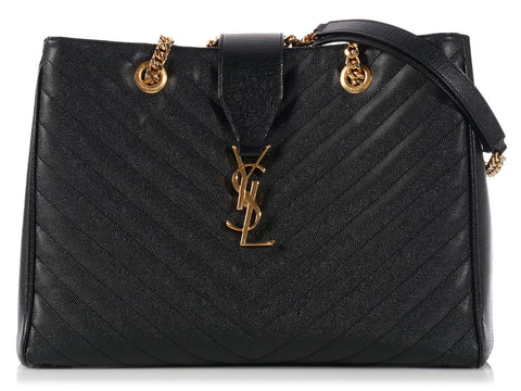 Saint Laurent Black Matelassé Monogram Shopper