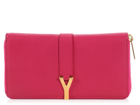 Saint Laurent Pink Y Line Zip Around Wallet