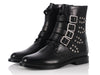 Saint Laurent Black Studded Buckle Ranger Boots