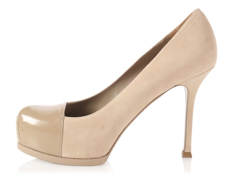 YSL Beige Suede Tribute To Platform Pumps