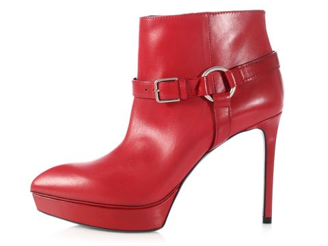 Saint Laurent Red Pointed-Toe Platform Ankle Boots
