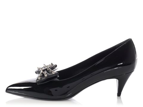 Saint Laurent Black Patent Bow-Toe Kitten Heels