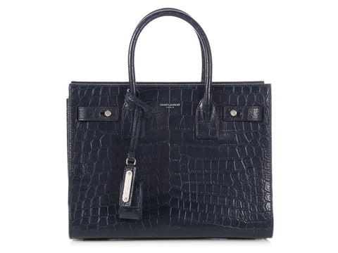 Saint Laurent Navy Crocodile-Embossed Baby Sac de Jour