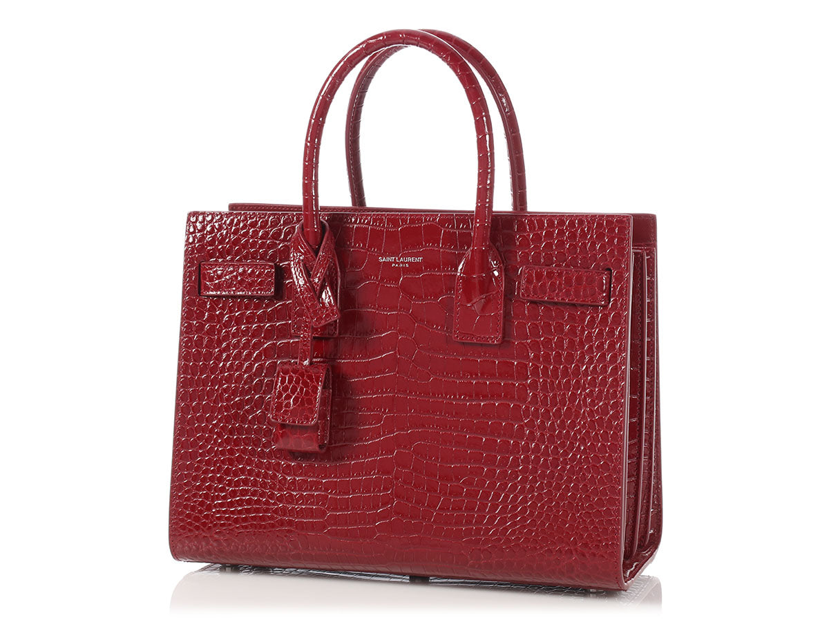 991943c179e Saint Laurent Red Crocodile-Embossed Baby Sac de Jour