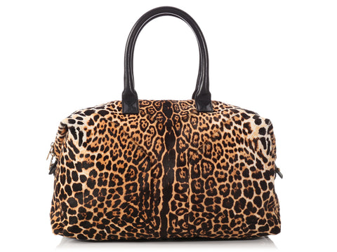 YSL Leopard Print Pony Hair Easy Y Bag