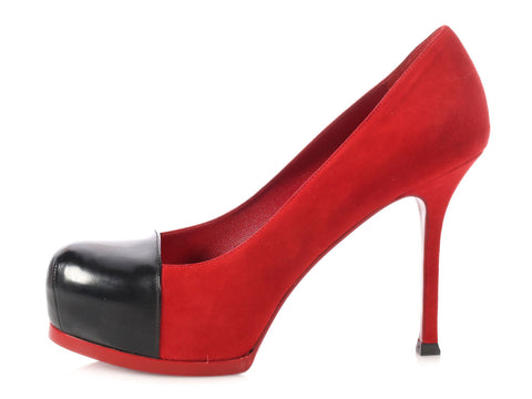 YSL Red Suede Cap Toe Pumps