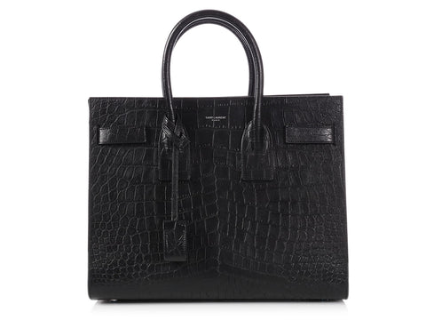 Saint Laurent Small Black Matte Crocodile-Embossed Sac de Jour