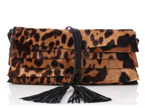 YSL Leopard Print Calf Hair Tassel Convertible Clutch