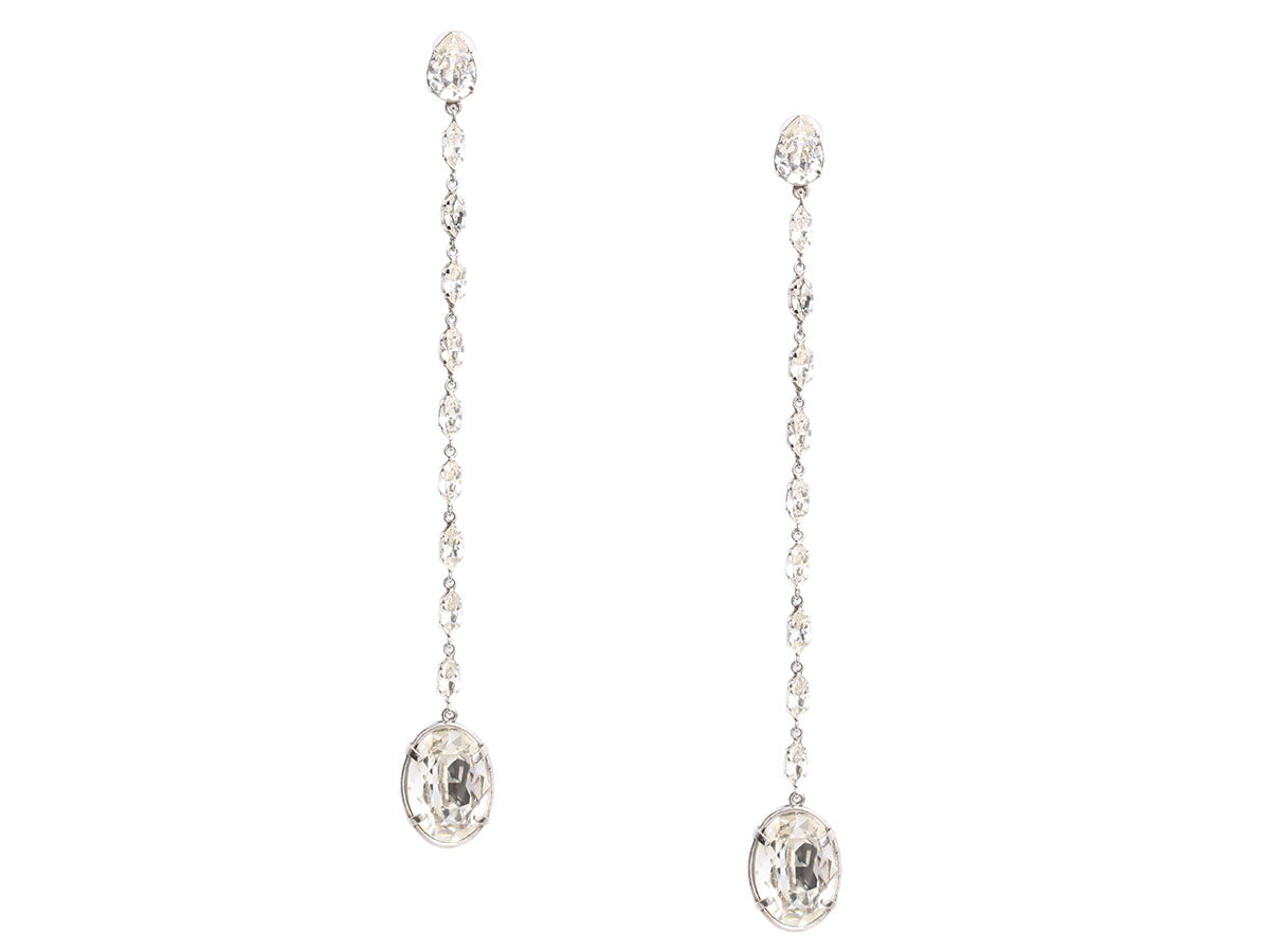 Saint Laurent Smoking Chain Crystal Drop Earrings