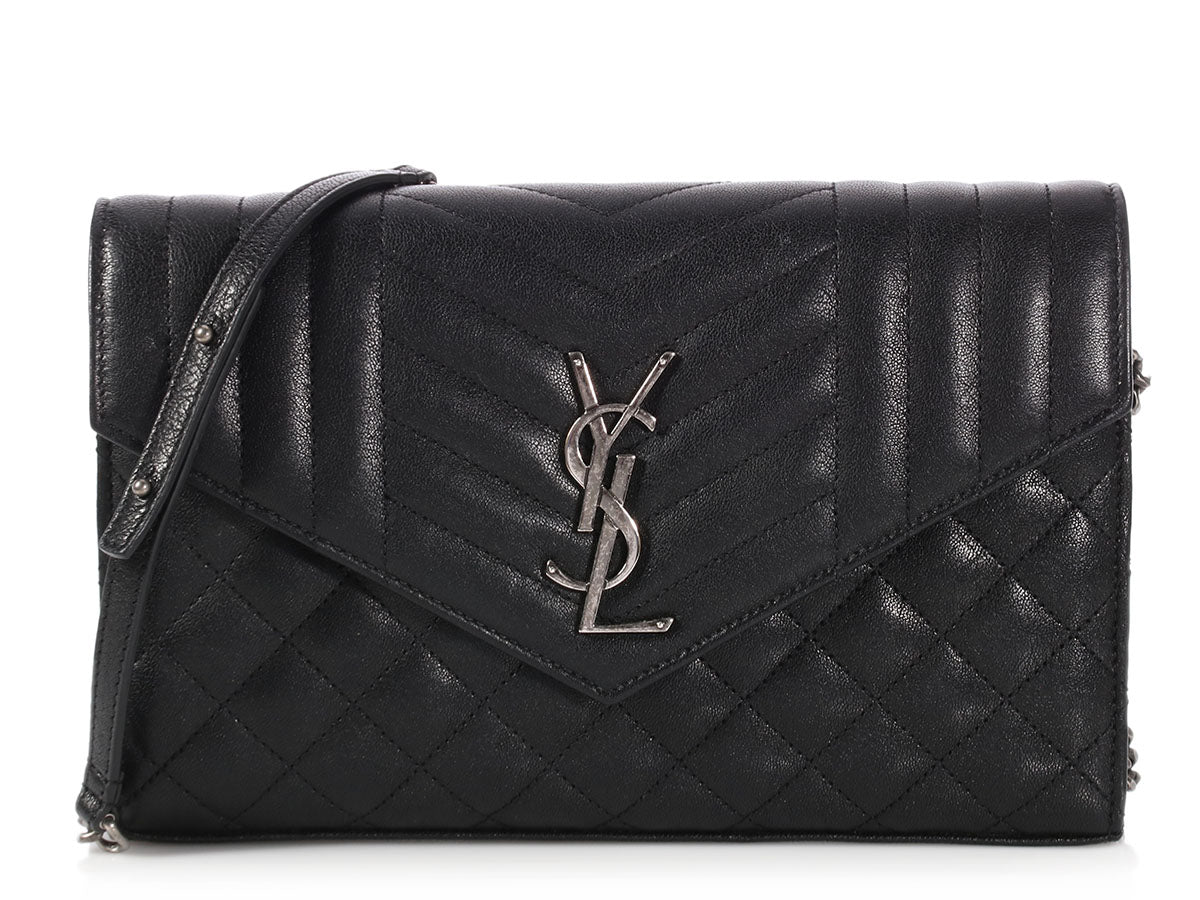 Saint Laurent Black Mixed Matelassé Monogram Wallet on a Chain
