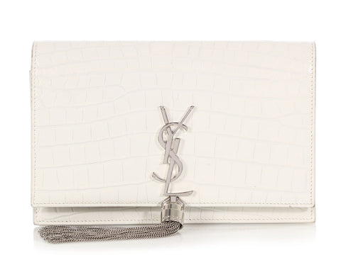 Saint Laurent Small White Croc Tassel YSL Monogram Kate Wallet on a Chain