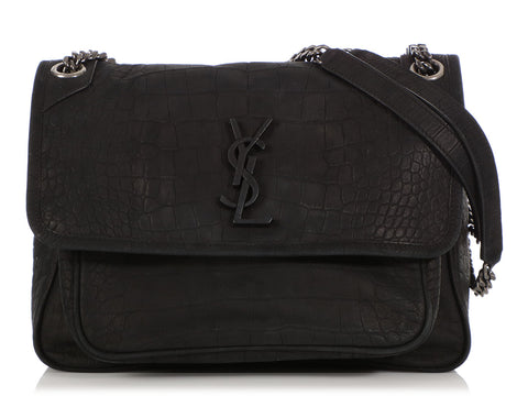 Saint Laurent Medium Black Crocodile-Embossed Suede Niki Bag