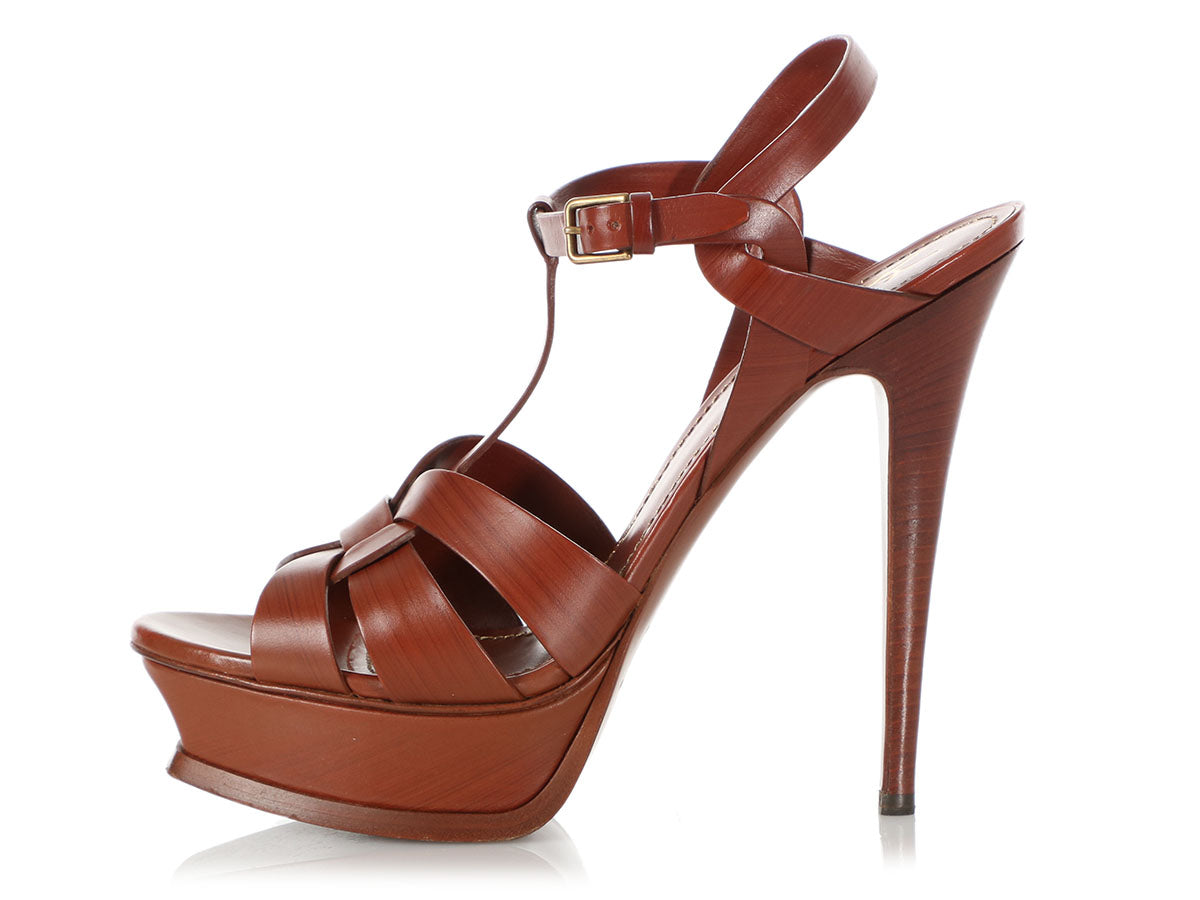 YSL Brown Tribute 105 Platform Sandals