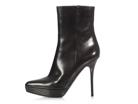 YSL Black Leather Platform Ankle Boots