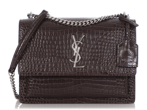 Saint Laurent Medium Brown Croc-Embossed Sunset Crossbody Bag