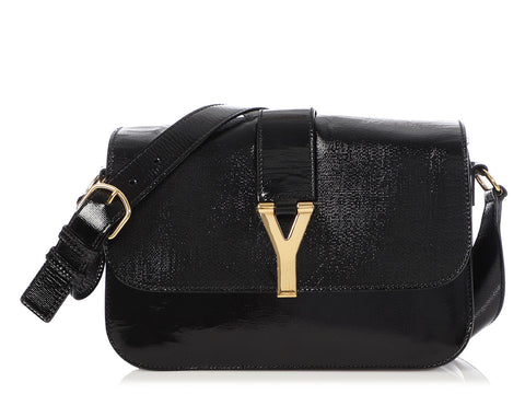 YSL Black Patent Ligne Y Flap Bag