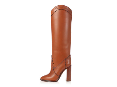Saint Laurent Cognac Kate 105mm Tall Boots